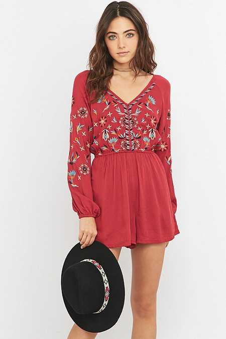 Ecote Embroidered Red Playsuit