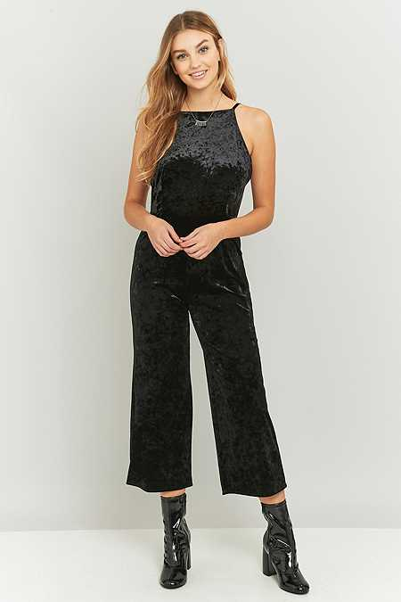 Pins & Needles Crushed Black Velvet Culottes Jumpsuit