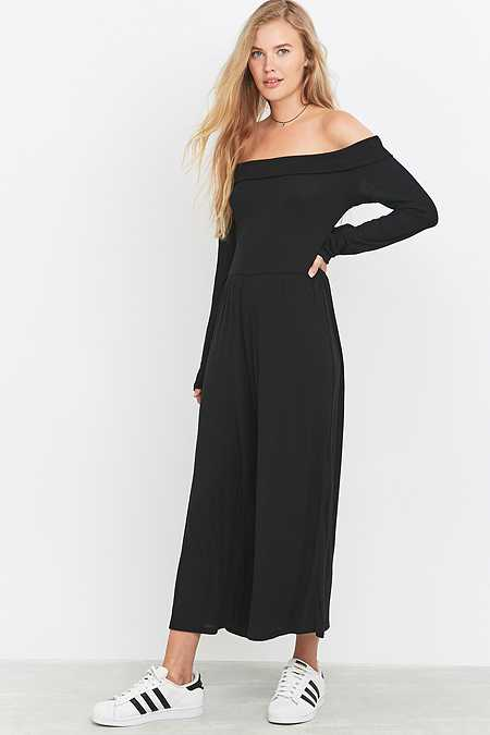 Light Before Dark Black Bardot Culottes Jumpsuit