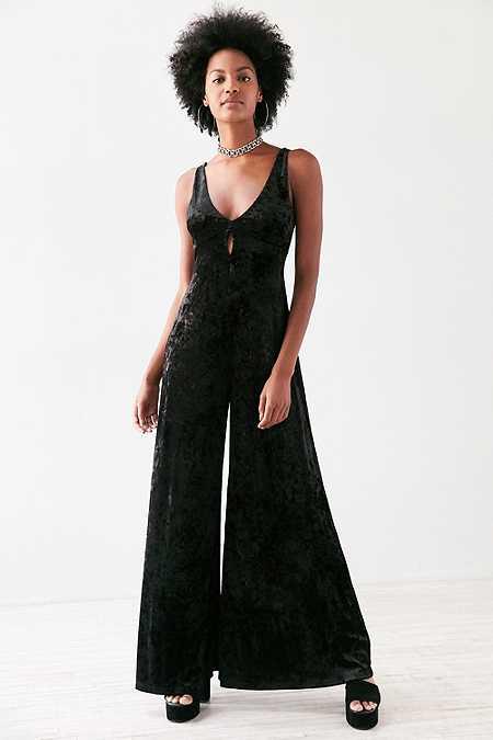 Ecote - Combi-pantalon en velours noir avec ouverture goutte d'eau
