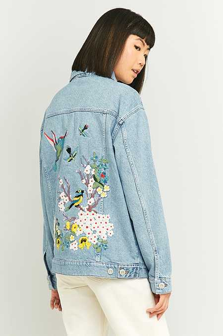 BDG Embroidered Bird Light Blue Denim Jacket