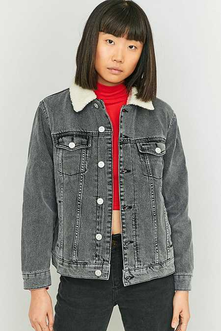 BDG Western Borg-Lined Washed Black Denim Jacket