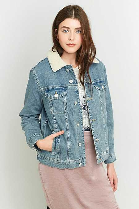 BDG Western Borg-Lined Light Blue Denim Jacket