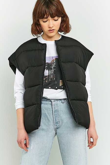 Light Before Dark Printed Sleeveless Cropped Puffer Jacket