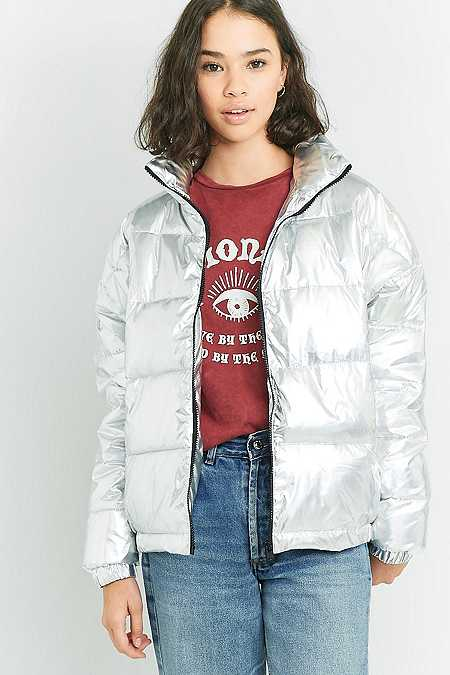Light Before Dark Holographic Cropped Puffer Jacket