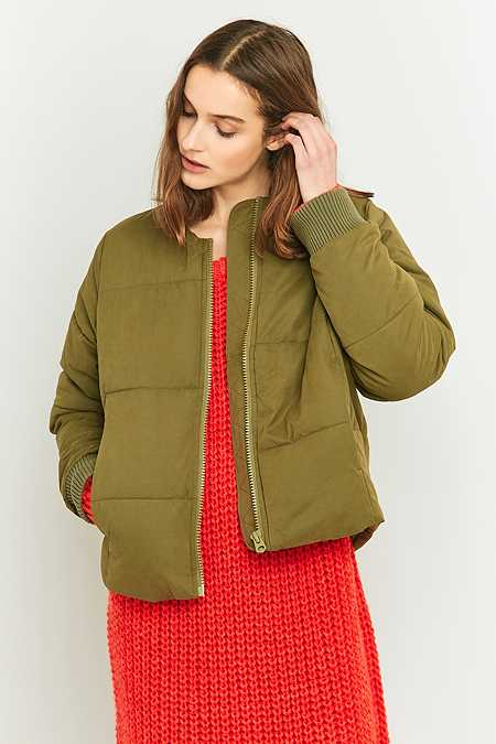 Light Before Dark Collarless Khaki Puffer Jacket