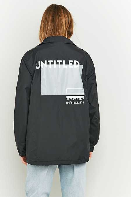BDG Graphic Black Coach Jacket
