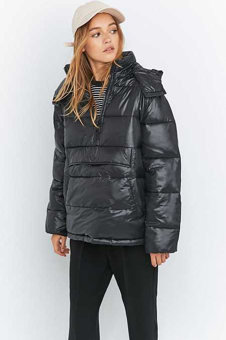 Ladies Black Puffer Coat | Down Coat