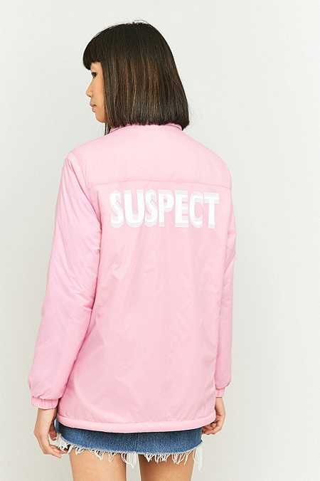 Light Before Dark Borg-Lined Graphic Pink Coach Jacket