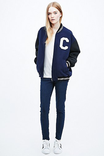 Cooperative by Urban Outfitters Varsity Bomber Jacket in Navy