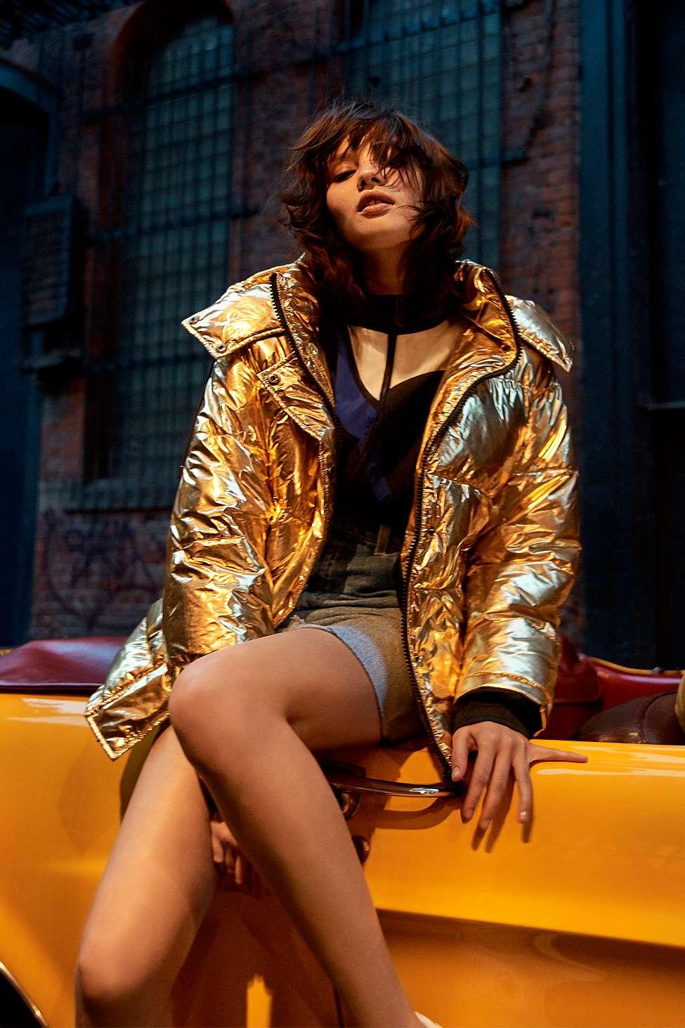 Gold Metallic Puffer Jacket Coat Style