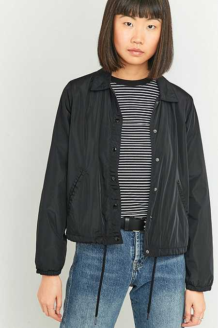 BDG Cropped Black Coach Jacket