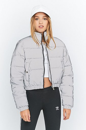 Uo Exclusive Fila Toto Reflective Silver Cropped Puffer
