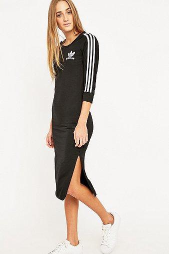 adidas Three Stripe Black Midi Dress - Urban Outfitters