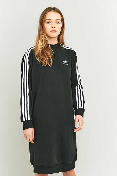 adidas Originals 3-Stripe Black Midi Dress