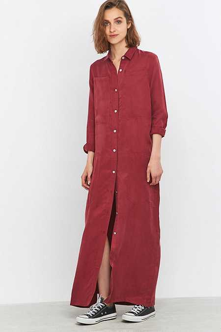 LF Markey Joss Maroon Maxi Shirt Dress
