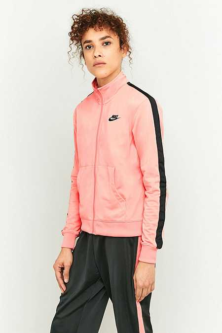 Nike Pink and Black Tracksuit Top