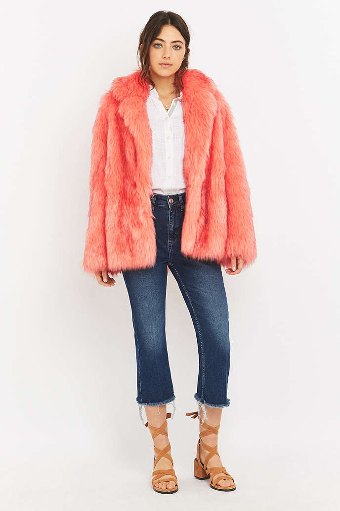 Manoush Pink Faux-Fur Jacket - Urban Outfitters
