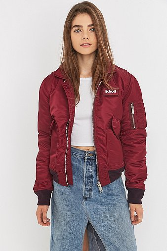 schott nyc bomberjacke in weinrot urban outfitters. Black Bedroom Furniture Sets. Home Design Ideas