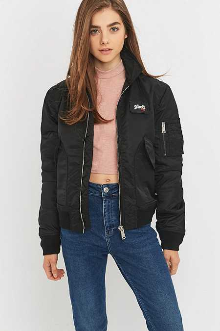 Black Bomber Jacket Womens ww6VGb