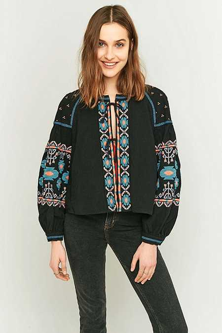 Free People Embroidered Black Swing Jacket