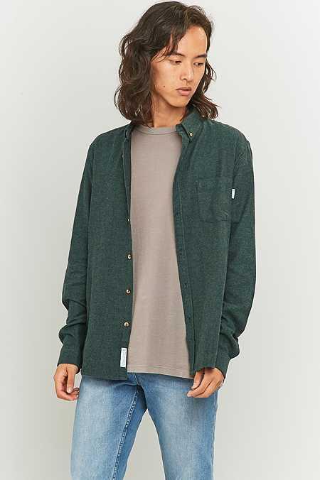 Shore Leave by Urban Outfitters - Chemise en tissu brossé à chevrons verte