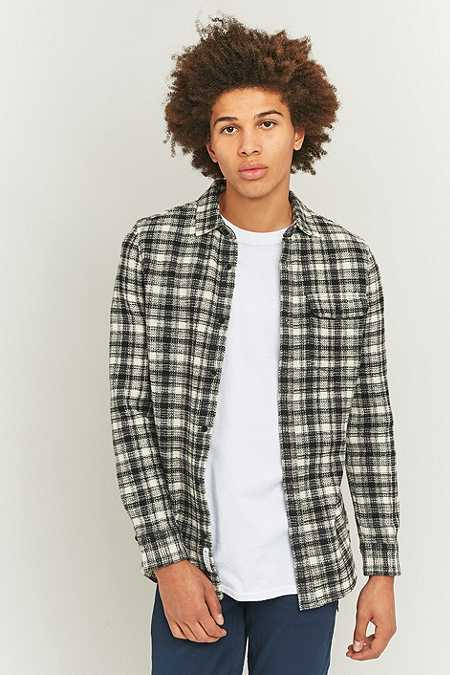 Shore Leave by Urban Outfitters Waffle Check Navy and Ecru Shirt
