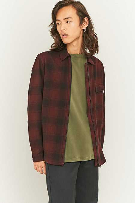 Shore Leave by Urban Outfitters Blake Berry and Black Zip-Through Overshirt