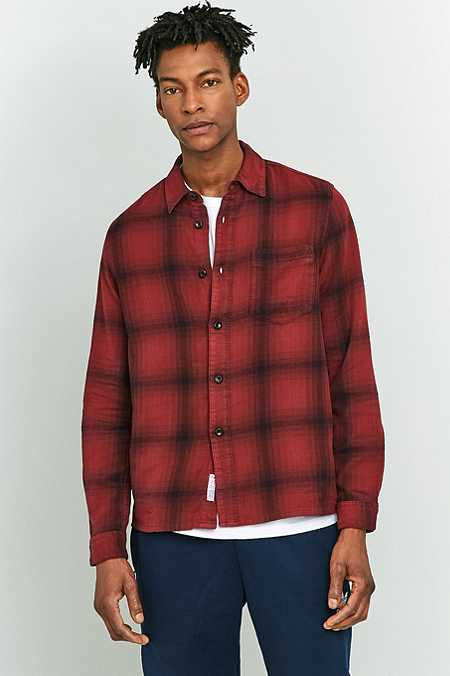 Shore Leave by Urban Outfitters Barney Wine Check Shirt