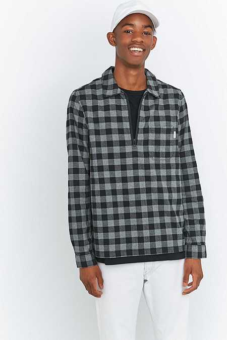 Shore Leave by Urban Outfitters Blake Grey Check Half-Zip Shirt