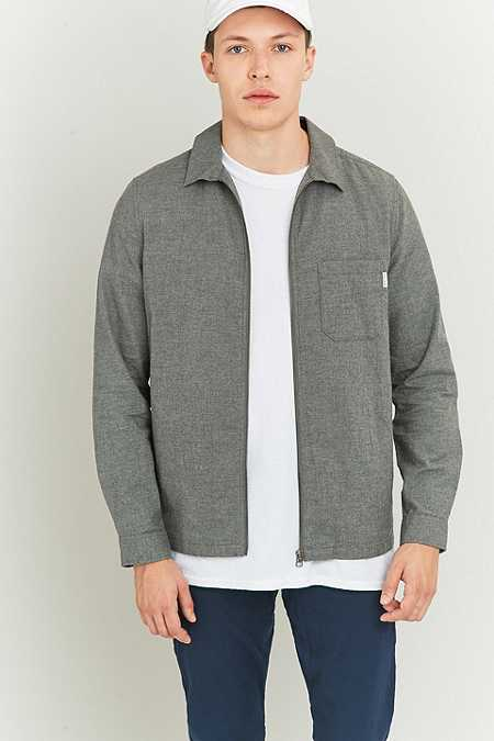 Shore Leave by Urban Outfitters Blake Brushed Grey Zip Overshirt