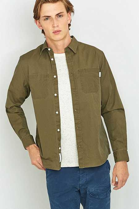 Shore Leave by Urban Outfitters Cooper Khaki Pigment Dye Shirt