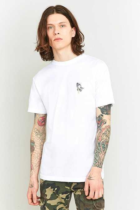 T-shirt Praying Hands à broderie blanc