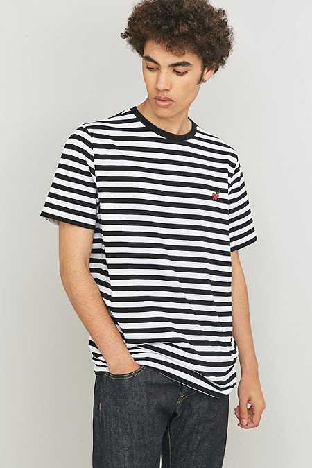 Shore Leave by Urban Outfitters Black and White Stripe Heart Patch T-shirt
