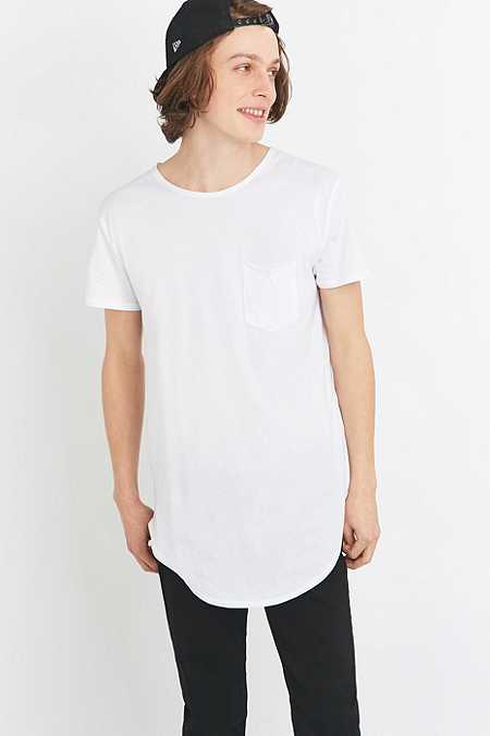 Feathers White Curved Hem T-shirt