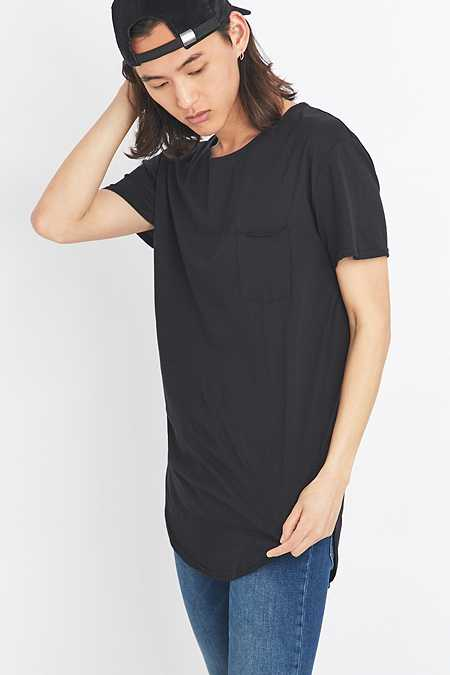 Feathers Black Curved Hem T-shirt