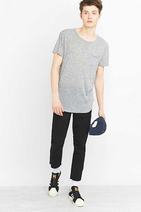 Feathers Grey Curved Hem T-shirt