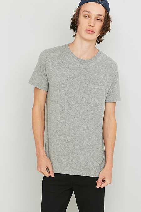 Commodity Stock - T-shirt basique à une poche - Gris chiné