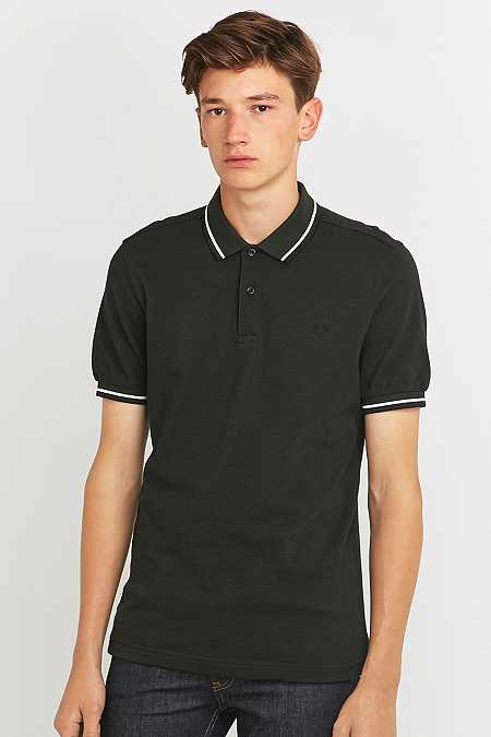 Fred Perry - Polo vert chasse à rayures doubles