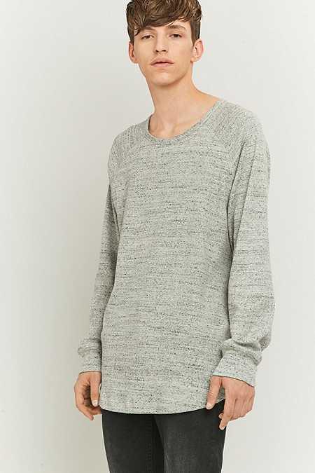Loom - T-shirt moucheté côtelé à manches longues gris