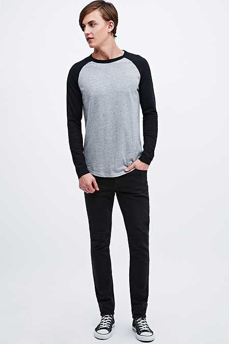 Commodity Stock - T-shirt raglan gris/noir