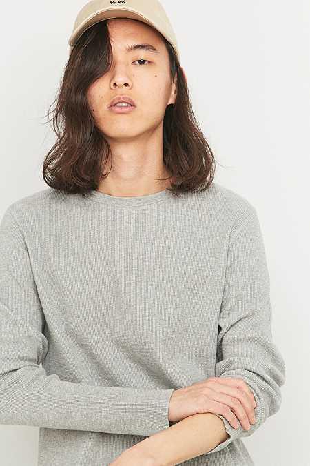 Commodity Stock - T-shirt gaufré à manches longues gris