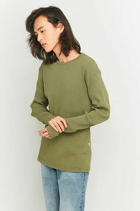 Shore Leave by Urban Outfitters Khaki Rib Long Sleeve T-shirt