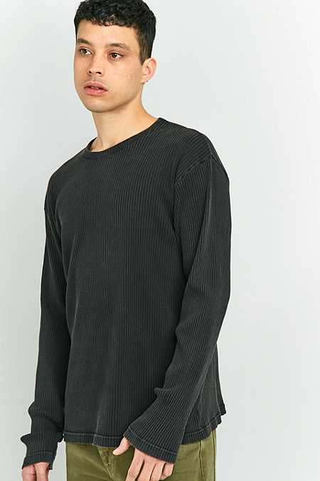 Shore Leave by Urban Outfitters Black Rib Long Sleeve T-shirt