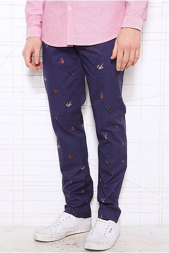 Farah Vintage Terence Fly Fishing Print Chinos in Navy