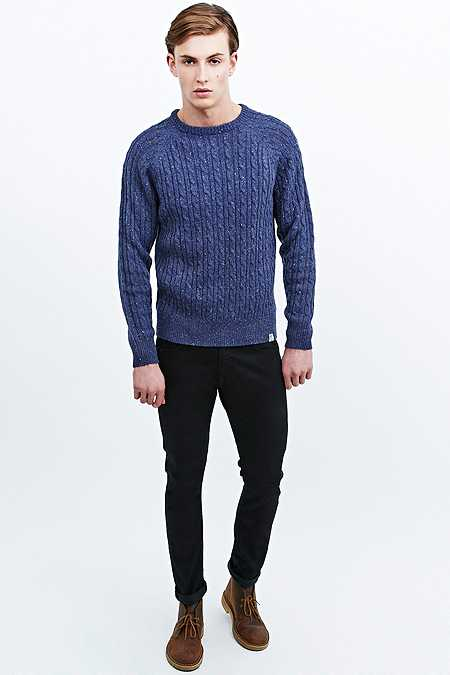 Shore Leave Nepped Cable Knit Jumper in Denim Blue