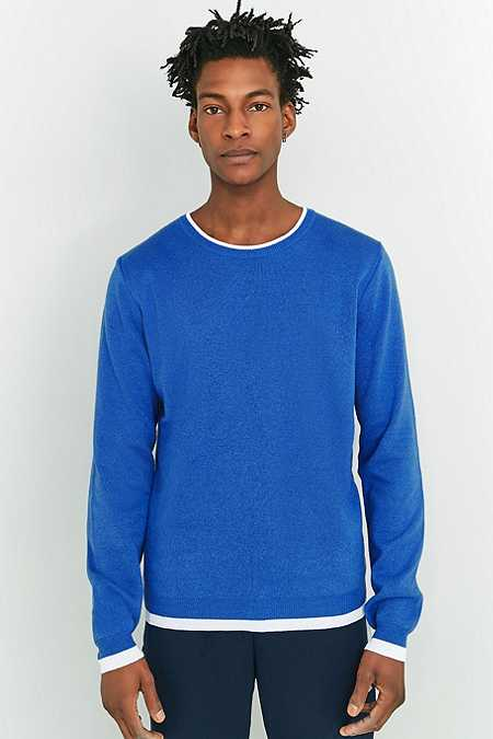 Shore Leave by Urban Outfitters - Pull bleu à bordures contrastantes