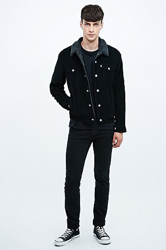 Levis Cord Sherpa Jacket In Black Urban Outfitters