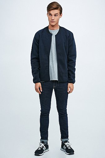 Selected Homme Simple Wool Zip Bomber Jacket - Urban Outfitters