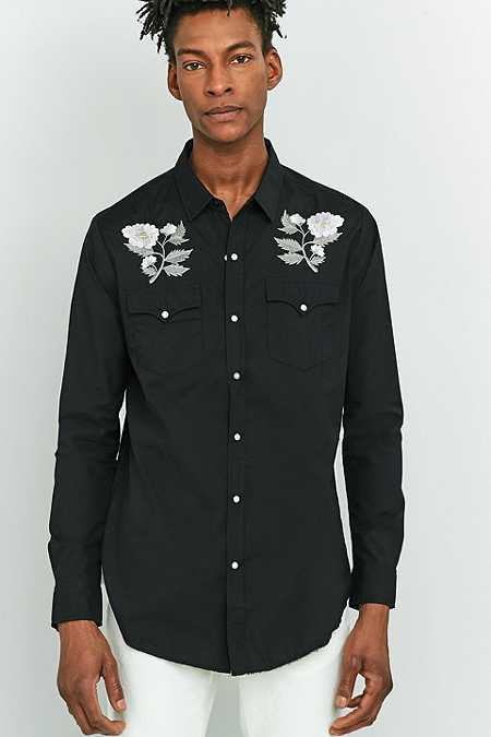 Rolla's Black Embroidered Rose Long-Sleeve Shirt